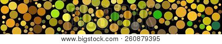 Abstract Horizontal Banner Of Circles Of Different Sizes In Shades Of Yellow Colors On Black Backgro