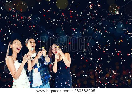 Celebration Party 2019 Group Of Asian Young People Holding Confetti Happy And Funny Concept