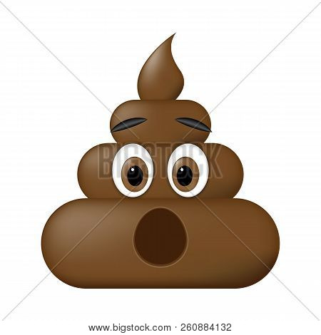 Shit Icon, Surprise Faces, Poop Emoticon Isolated On White Background.