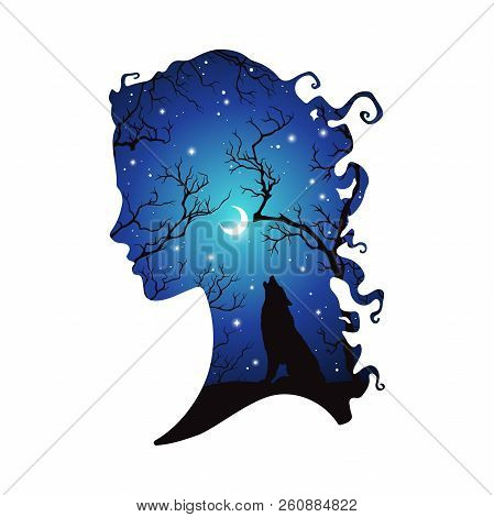 Double Exposure Silhouette Of Beautiful Woman With Shadow Of Wolf In The Night Forest, Crescent Moon