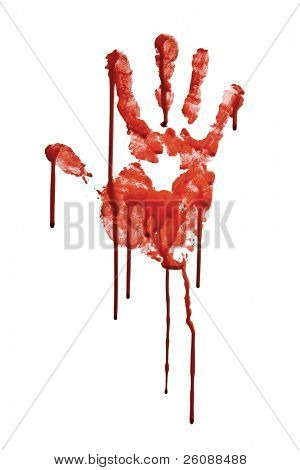 Bloody hand-print isolated on white