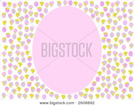 giant egg with cartoon easter chicks and eggs frame illustration poster