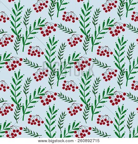 Colorful Seamless Pattern With Ashberry And Leaves
