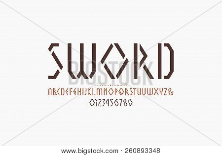 Stencil-plate Geometric Sans Serif Font. Letters And Numbers For Logo And Emblem Design. Color Print
