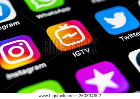 Sankt-petersburg, Russia, September 30, 2018: Apple Iphone X With Social Networking Service Igtv Ins