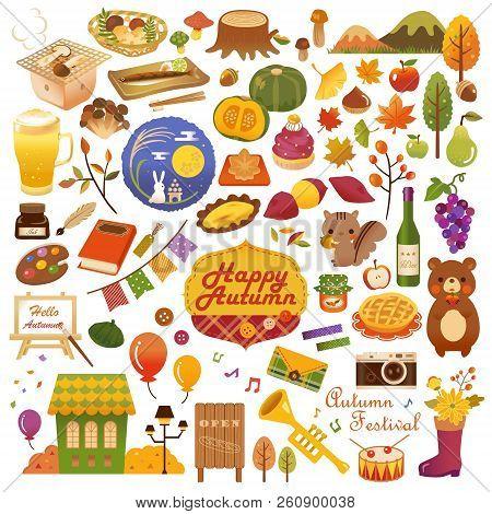Autumn Seasonal Various Icon Set. Vector Illustration.