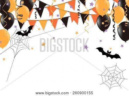 Halloween Party Flags And Balloon On White Background. Vector Illustration.