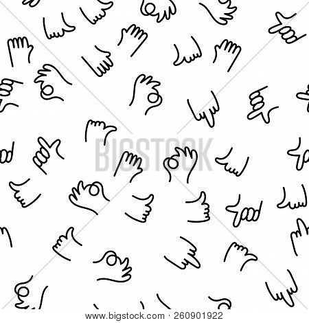 Hand Drawing Pattern Finger Gestures Ok, Thumb And Index Finger Up, Middle Finger Fuck You. Positive
