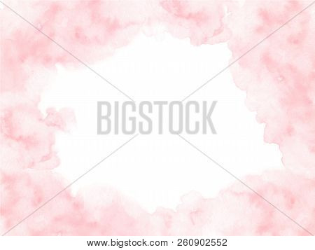 Hand Painted Pink Watercolor Border Texture With Soft Edges Isolated On The White Background. Vector