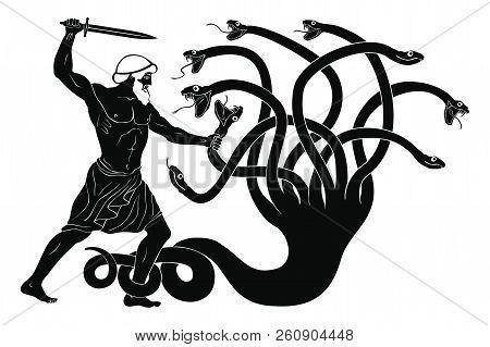 Hercules Kills The Lyrna Hydra. 12 Exploits Of Hercules. Figure Isolated On White Background.