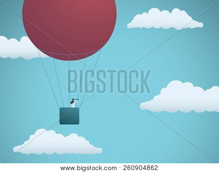 Business Vision Vector Concept With Businesswoman Flying In Hot Air Balloon In The Sky. Symbol Of Bu