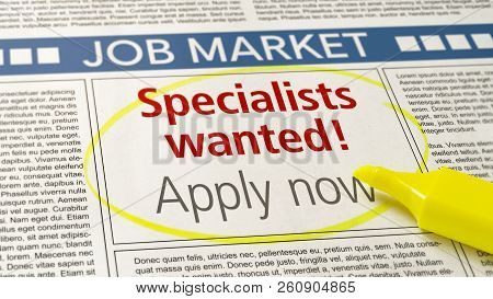 Job Ad In A Newspaper - Specialists Wanted