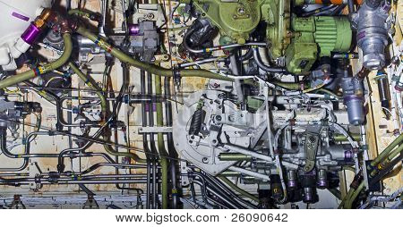 Detailed exposure of a turbine jet engine. poster