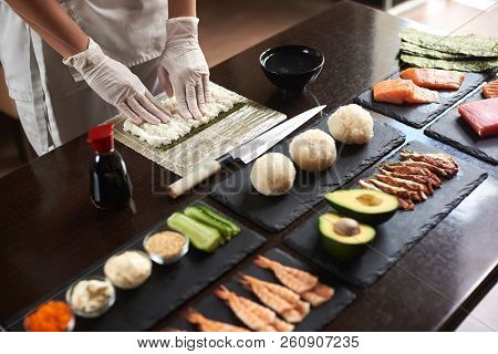 Process Of Preparing Rolling Sushi