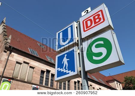 Nuremberg, Germany - May 7, 2018: Signs For Public Transportation Station: Deutsche Bahn (db) And S-