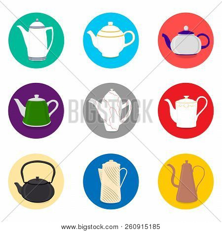 Vector Illustration For Set Of Colored Ceramic Teapot, Kettle In Icons. Teapot Pattern Consisting Of