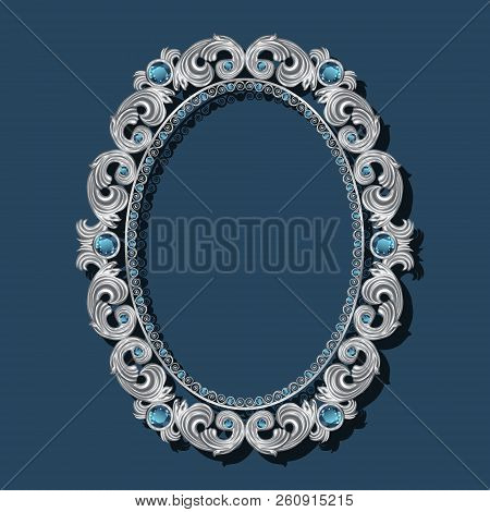 Round Frame Silver Color With Topaz On Blue Background