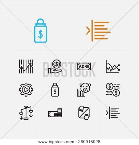 Financial icons set. Stock market and financial icons with adrs, invest money and execution. Set of corporate for web app logo UI design. poster