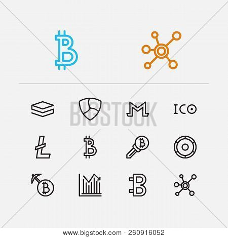 Blockchain Icons Set. Stock Price And Blockchain Icons With Digital Money, Litecoin And Bitcoin. Set
