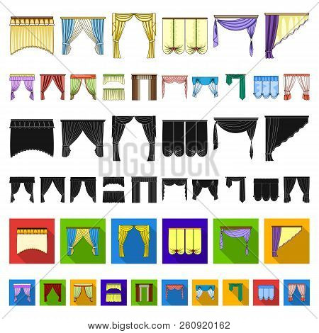 Different Kinds Of Curtains Cartoon Icons In Set Collection For Design. Curtains And Lambrequins Vec
