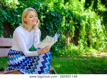 Girl Keen On Book Keep Reading. Reading Literature As Hobby. Woman Blonde Take Break Relaxing In Par