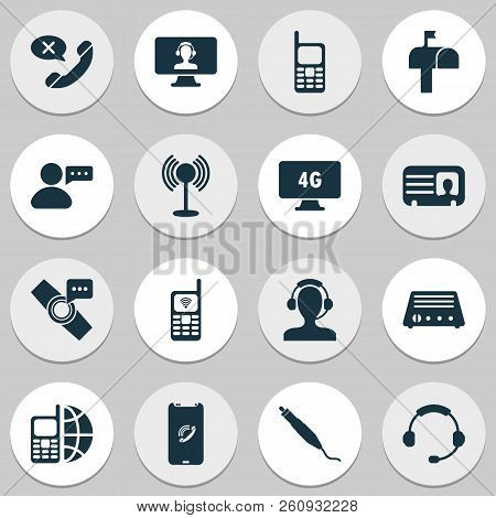 Communication Icons Set With Headphone, Contact, Message From User And Other Mobile Communication El