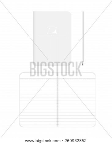 Lined Softcover Notebook: Spread And Front Cover, Realistic Vector Mockup. B7 Size Notepad With Penc
