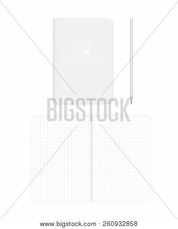 Open And Closed Grid Lined Soft Cover Notebook, Realistic Vector Mockup. B7 Squared Paper Notepad Wi