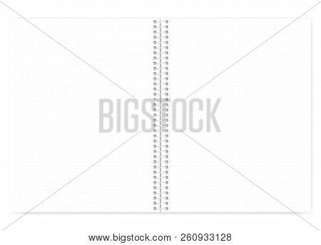 Open Dot Grid Wire Bound Notebook With Metal Spiral, Realistic Vector Mock Up. Wirebound Note Book S