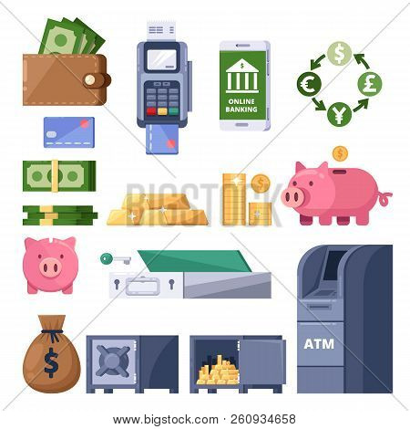 Money Icons Set. Finance, Banking, Investment And Commerce Symbol. Atm, Terminal, Dollars, Piggy Ban