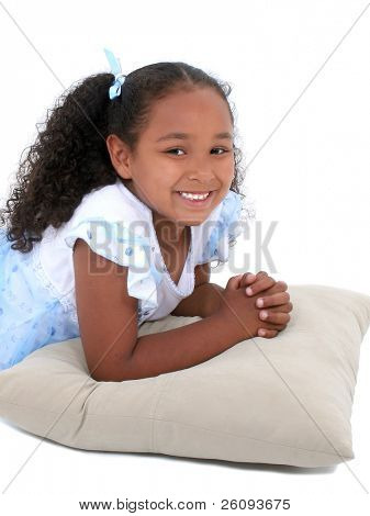 Beautiful Six Year Old Girl In Pajamas Over White.