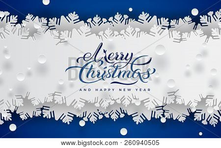 Merry Christmas And Happy New Year Banner, Blue Background, White Lace Ribbon Decoration With Snowfl