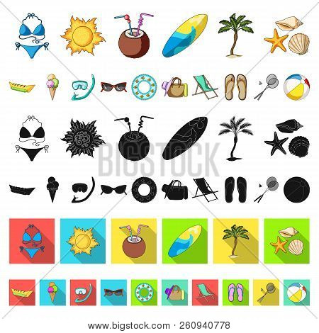 Summer Rest Cartoon Icons In Set Collection For Design. Beach Accessory Vector Symbol Stock Web Illu