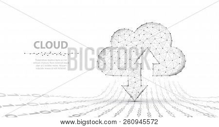 Cloud Technology. Abstract Polygonal Wireframe Cloud Storage Sign With Two Arrows Up And Down Isolat