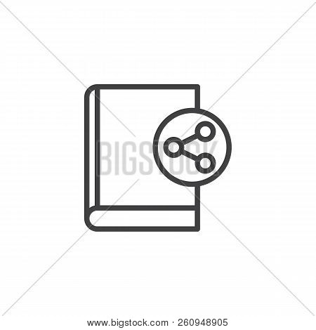 Share Book Outline Icon. Linear Style Sign For Mobile Concept And Web Design. Sharing Ebook Simple L