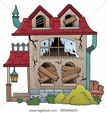 Derelict House Theme Image 1 - Eps10 Vector Picture Illustration.