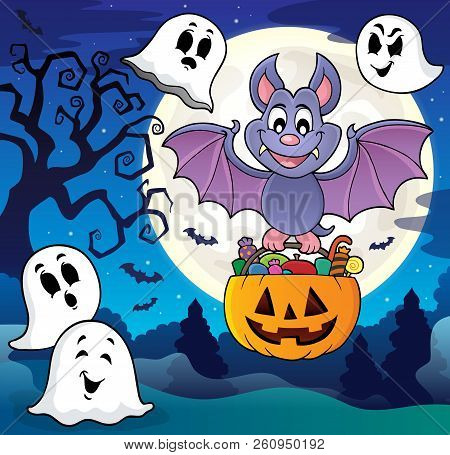 Halloween Bat Theme Image 8 - Eps10 Vector Picture Illustration.
