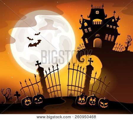 Halloween House Silhouette Theme 5 - Eps10 Vector Picture Illustration.