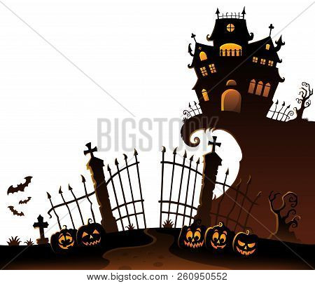Halloween House Silhouette Theme 6 - Eps10 Vector Picture Illustration.