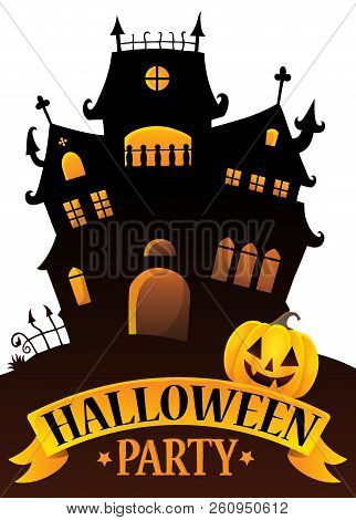 Halloween Party Sign Composition Image 4 - Eps10 Vector Picture Illustration.