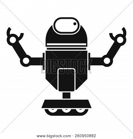 Robot On Wheels Icon. Simple Illustration Of Robot On Wheels Icon For Web