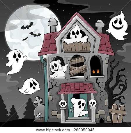 Haunted House With Ghosts Theme 4 - Eps10 Vector Picture Illustration.