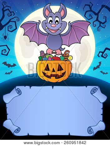 Small Parchment And Halloween Bat 1 - Eps10 Vector Picture Illustration.