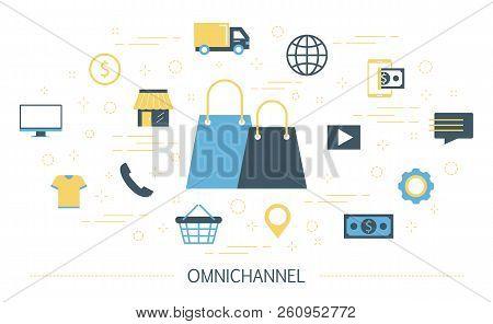 Omnichannel Concept Illustration. Online And Offline Retail