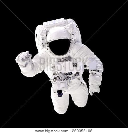 Astronaut In Spacesuit Close Up Isolated On Black Background. Spaceman In Outer Space. Elements Of T