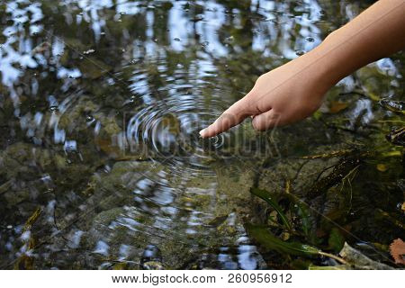 Close Up Finger Touches Water And Drop Of Water Falling And Creating Natural And Calm Waves,calmly C