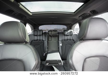 Interior Of Prestige Modern Car With Leather Seats