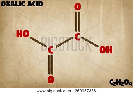 Detailed infographic illustration of the molecule of Oxalic acid poster