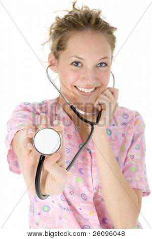 Beautiful young nurse holding out stethoscope.  Focus on fingers and stethoscope.