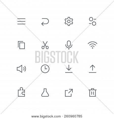 Main Outline Icon Set - Menu, Arrow, Gear Wheel, Switch, File, Scissors, Microphone, Wi Fi, Loudspea